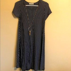 Blue and white striped dress with necklace